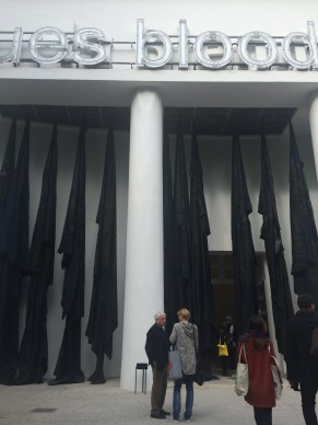 Oscar Murillo work at the entrance of Venice Biennale
