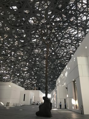 Inside the Louvre Abi Dhabi with a G Penone tree