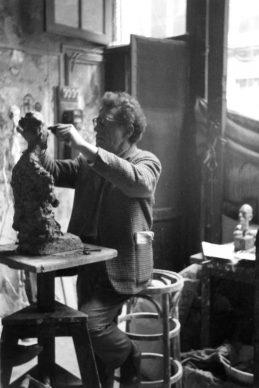 Alberto Giacometti  in his studio by Annette Giacometti